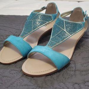 Carlos Santana teal blue sandals size 10